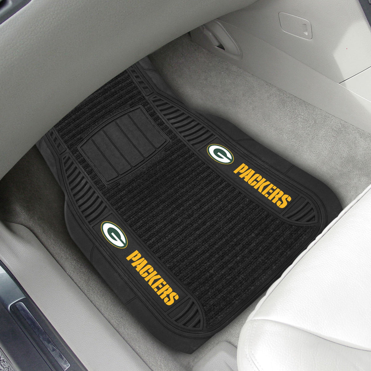 "NFL - 2-pc Deluxe Car Mat Set, 21"" x 27"" NFL Mats, Front Car Mats, 2-pc Deluxe Car Mat Set, NFL, Auto Fan Mats Green Bay Packers"