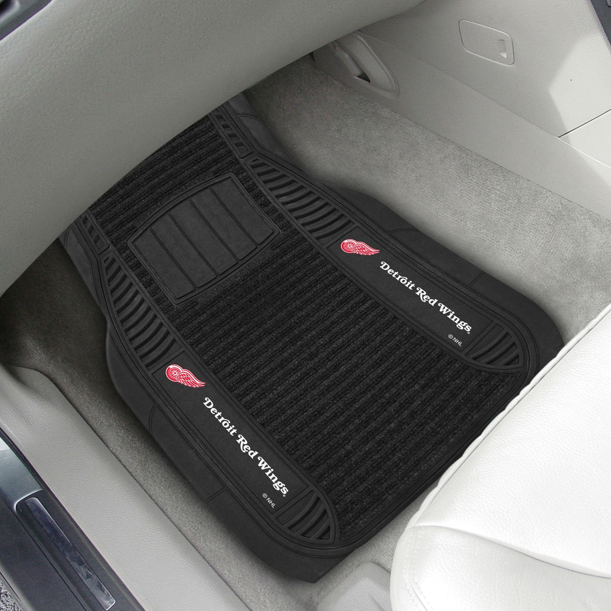 NHL - Deluxe Car Mat, 2-Piece Set NHL Mats, Front Car Mats, 2-pc Deluxe Car Mat Set, NHL, Auto Fan Mats Detroit Red Wings