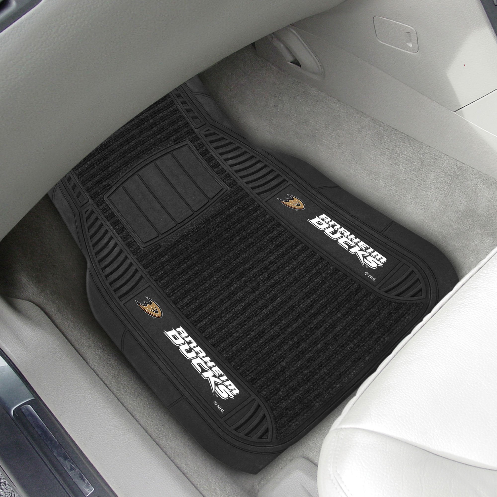 NHL - Deluxe Car Mat, 2-Piece Set NHL Mats, Front Car Mats, 2-pc Deluxe Car Mat Set, NHL, Auto Fan Mats Anaheim Ducks