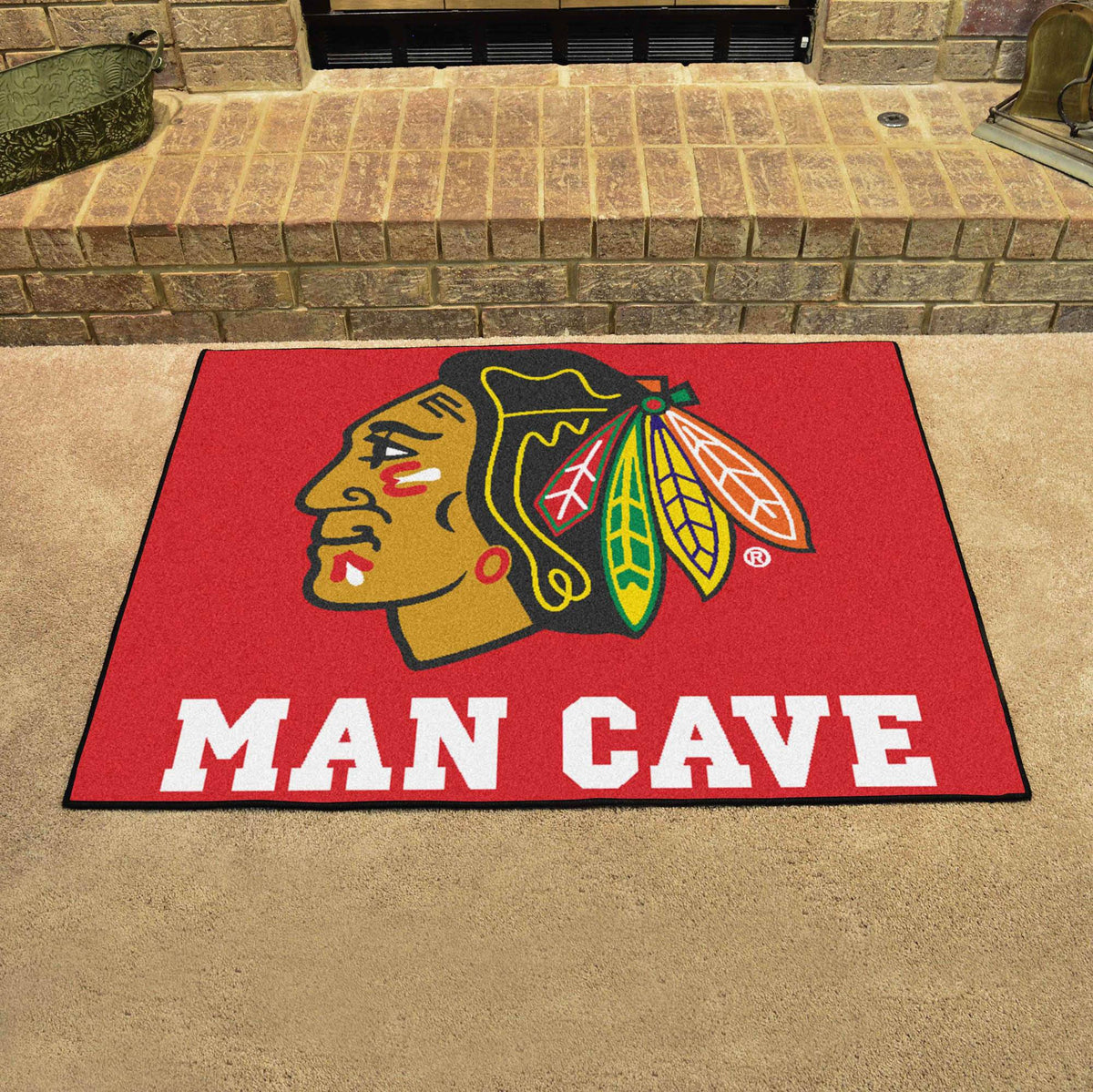 NHL - Man Cave All-Star NHL Mats, Rectangular Mats, Man Cave All-Star Mat, NHL, Home Fan Mats Chicago Blackhawks