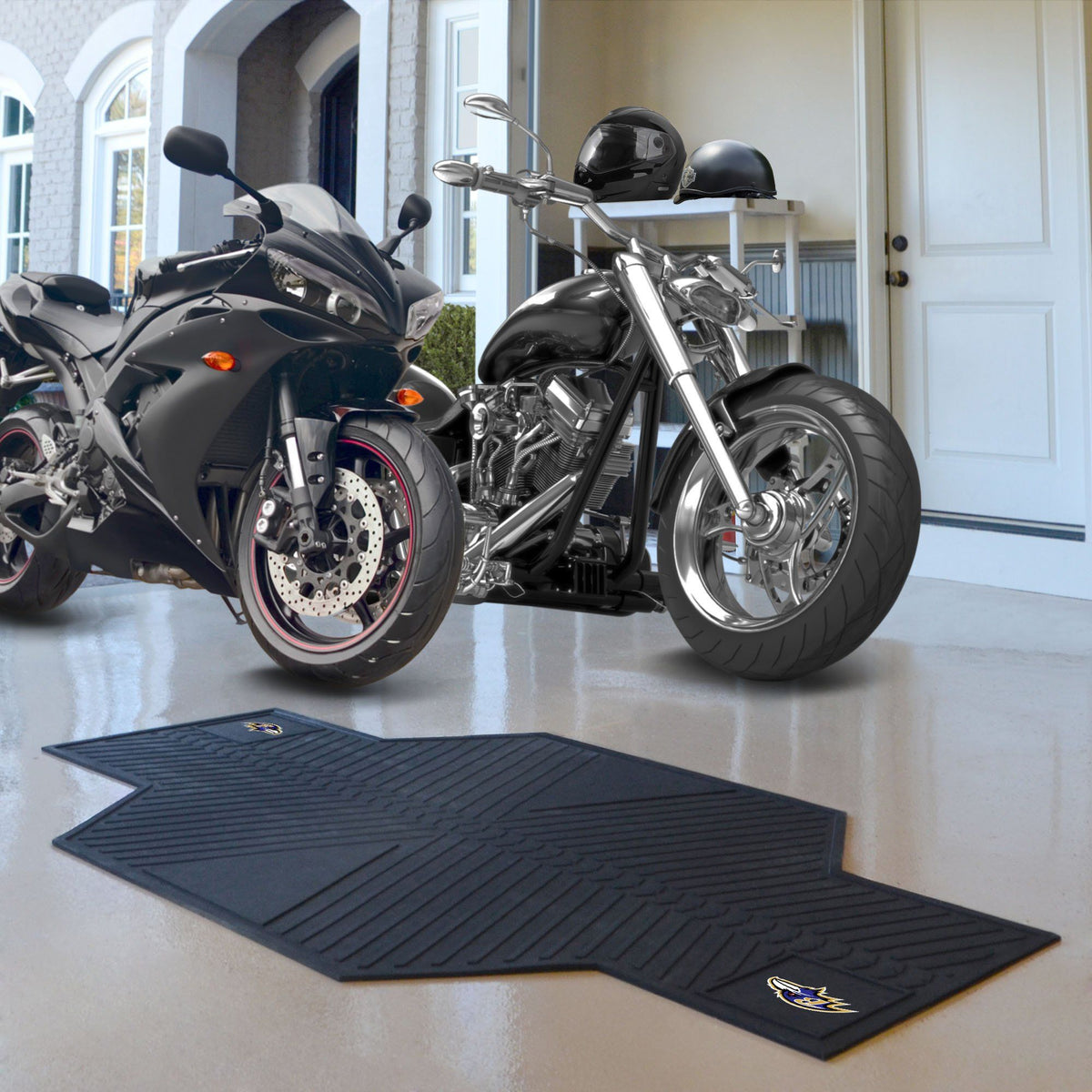 "NFL - Motorcycle Mat, 82.5"" x 42"" NFL Mats, Motorcycle Accessory, Motorcycle Mat, NFL, Auto Fan Mats Baltimore Ravens"