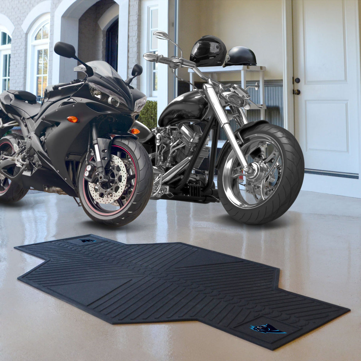 "NFL - Motorcycle Mat, 82.5"" x 42"" NFL Mats, Motorcycle Accessory, Motorcycle Mat, NFL, Auto Fan Mats Carolina Panthers"