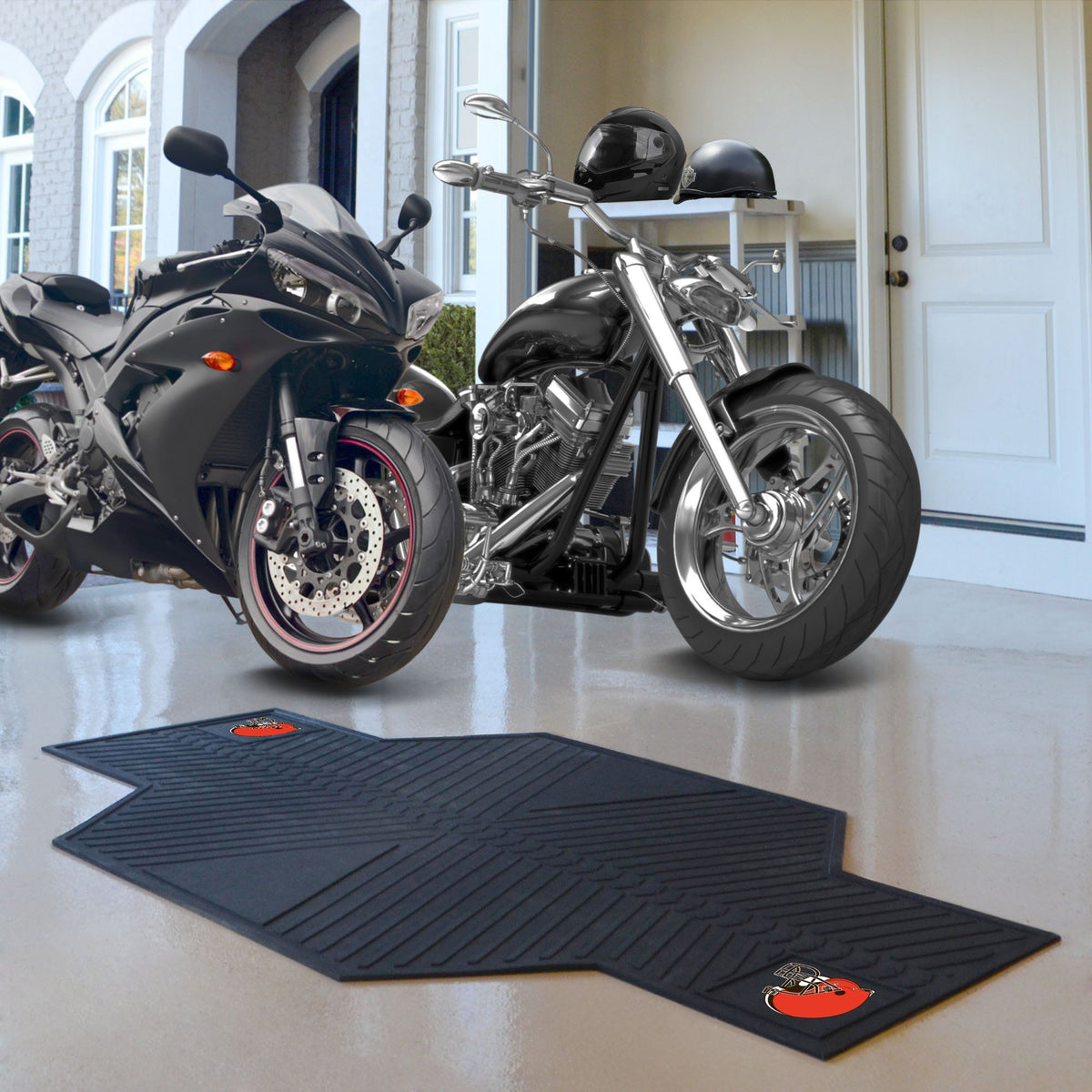 "NFL - Motorcycle Mat, 82.5"" x 42"" NFL Mats, Motorcycle Accessory, Motorcycle Mat, NFL, Auto Fan Mats Cleveland Browns"