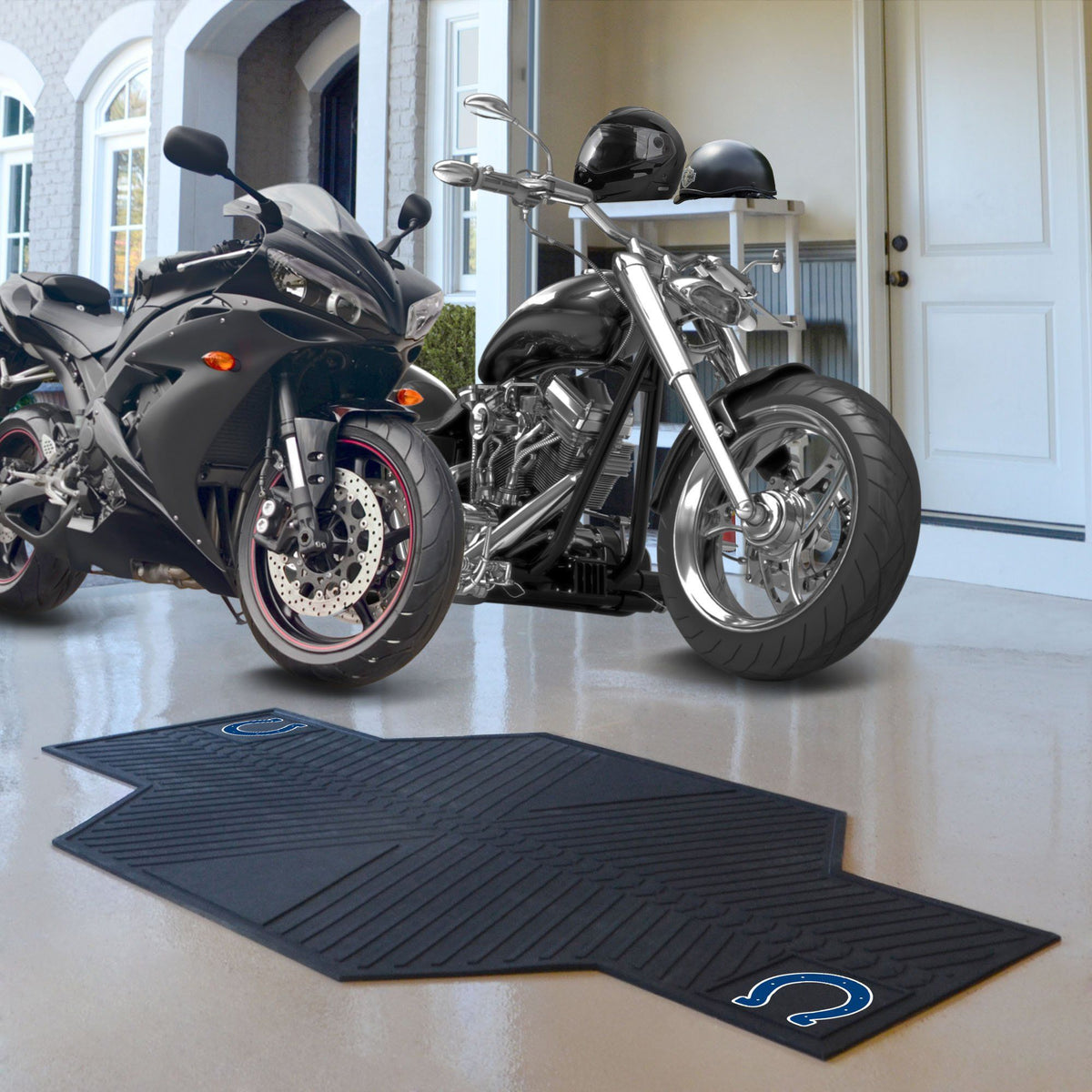 "NFL - Motorcycle Mat, 82.5"" x 42"" NFL Mats, Motorcycle Accessory, Motorcycle Mat, NFL, Auto Fan Mats Indianapolis Colts"