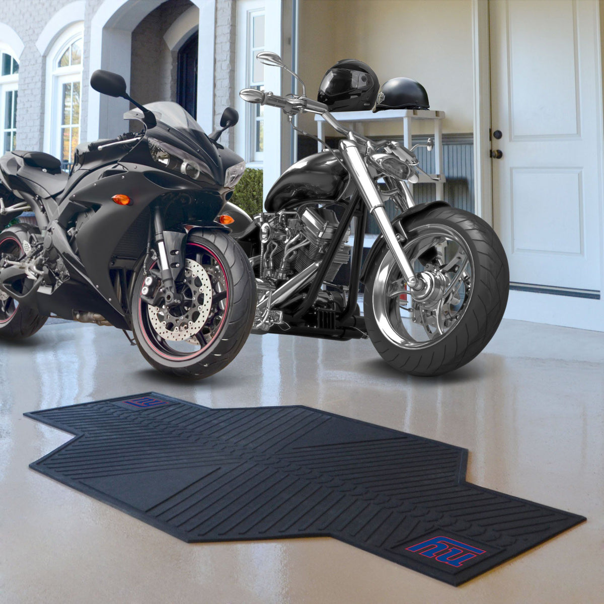 "NFL - Motorcycle Mat, 82.5"" x 42"" NFL Mats, Motorcycle Accessory, Motorcycle Mat, NFL, Auto Fan Mats New York Giants"