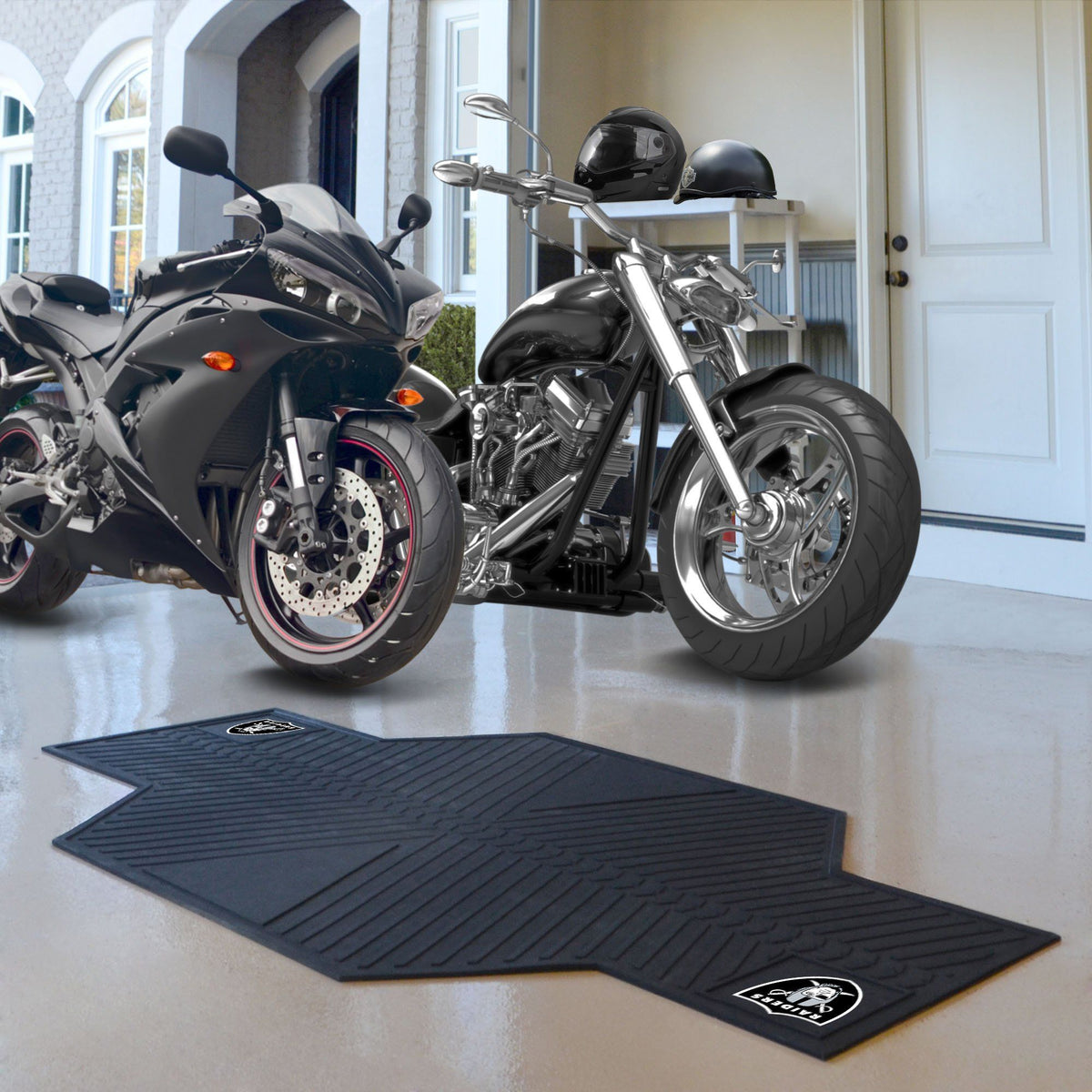 "NFL - Motorcycle Mat, 82.5"" x 42"" NFL Mats, Motorcycle Accessory, Motorcycle Mat, NFL, Auto Fan Mats Las Vegas Raiders"