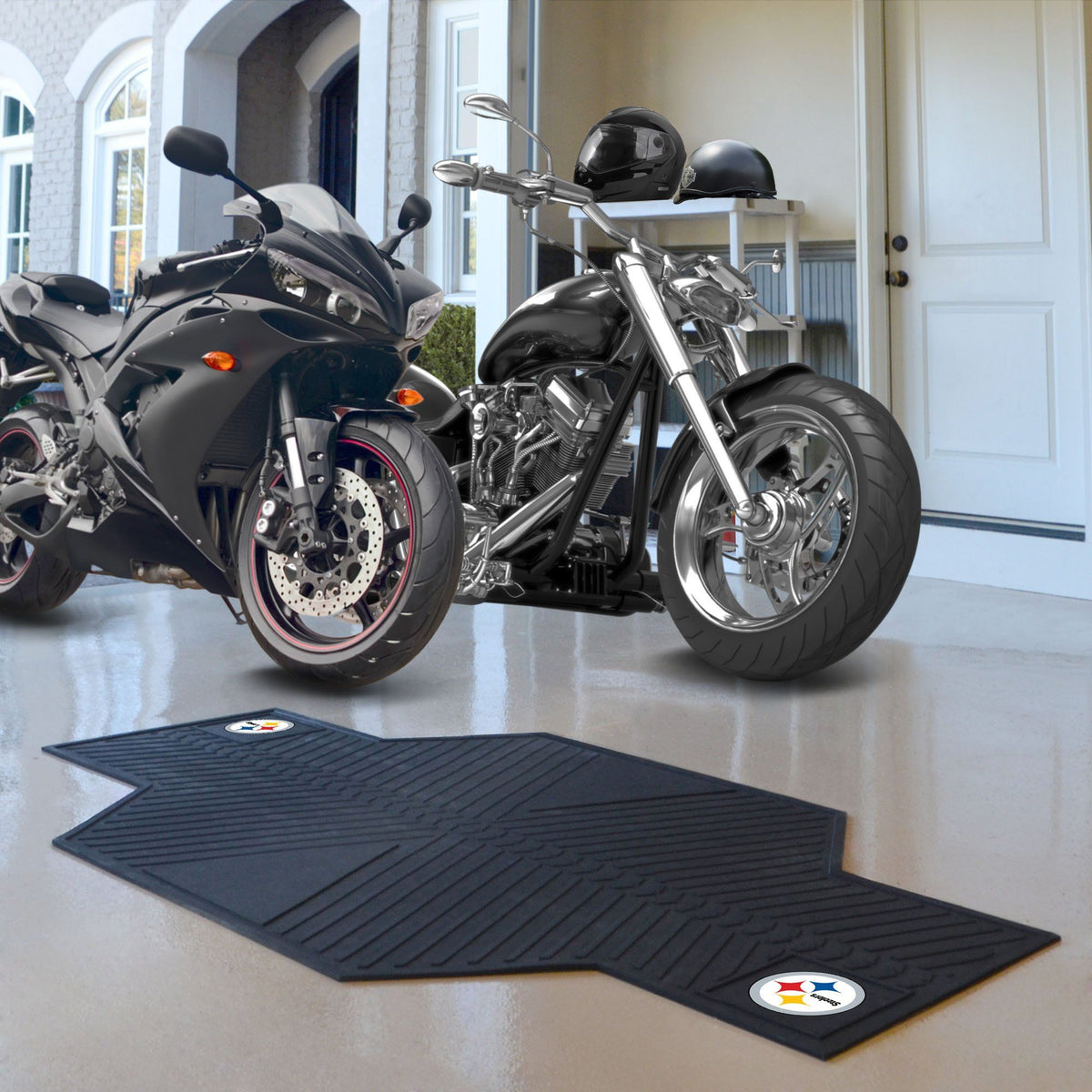 "NFL - Motorcycle Mat, 82.5"" x 42"" NFL Mats, Motorcycle Accessory, Motorcycle Mat, NFL, Auto Fan Mats Pittsburgh Steelers"