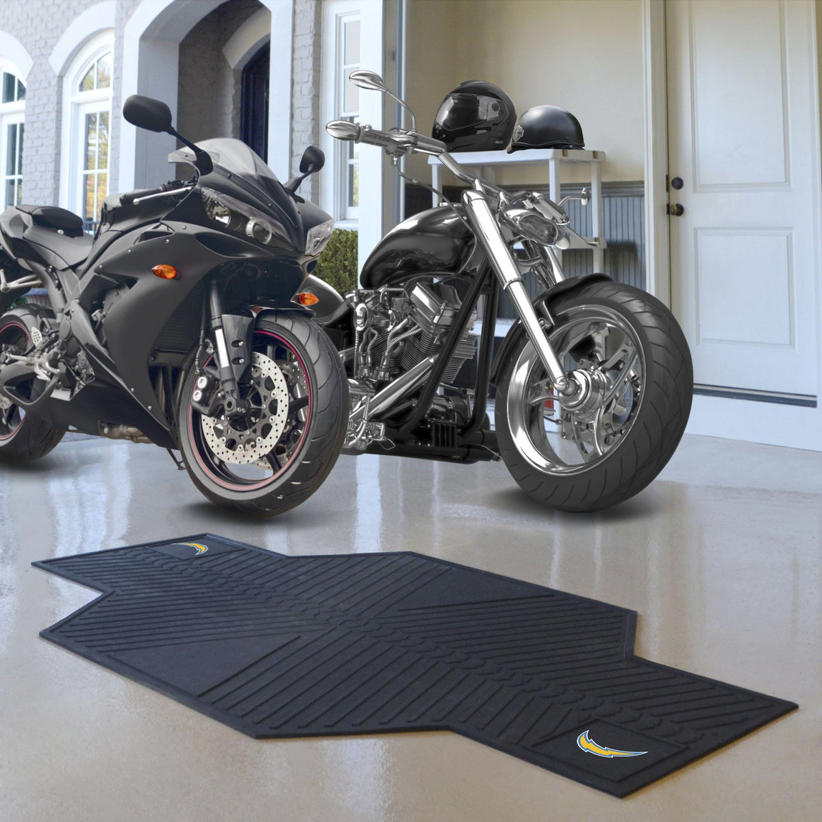 "NFL - Motorcycle Mat, 82.5"" x 42"" NFL Mats, Motorcycle Accessory, Motorcycle Mat, NFL, Auto Fan Mats Los Angeles Chargers"