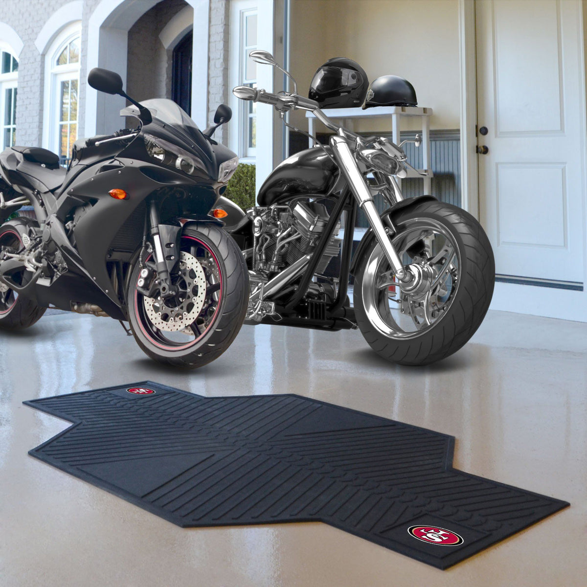 "NFL - Motorcycle Mat, 82.5"" x 42"" NFL Mats, Motorcycle Accessory, Motorcycle Mat, NFL, Auto Fan Mats San Francisco 49ers"
