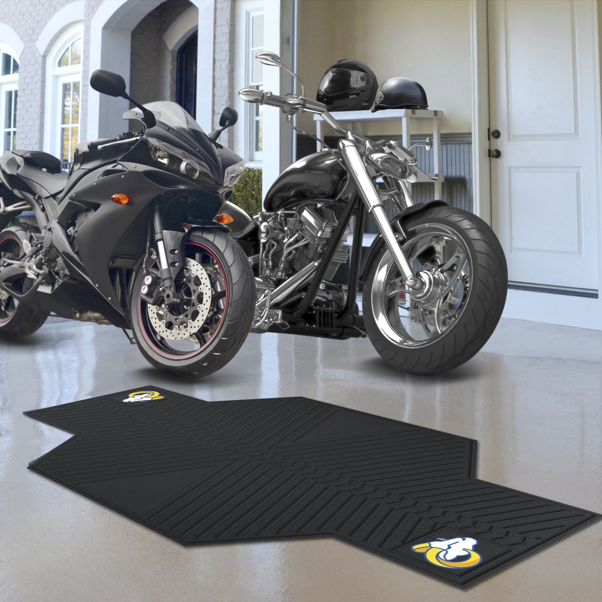 "NFL - Motorcycle Mat, 82.5"" x 42"" NFL Mats, Motorcycle Accessory, Motorcycle Mat, NFL, Auto Fan Mats Los Angeles Rams"