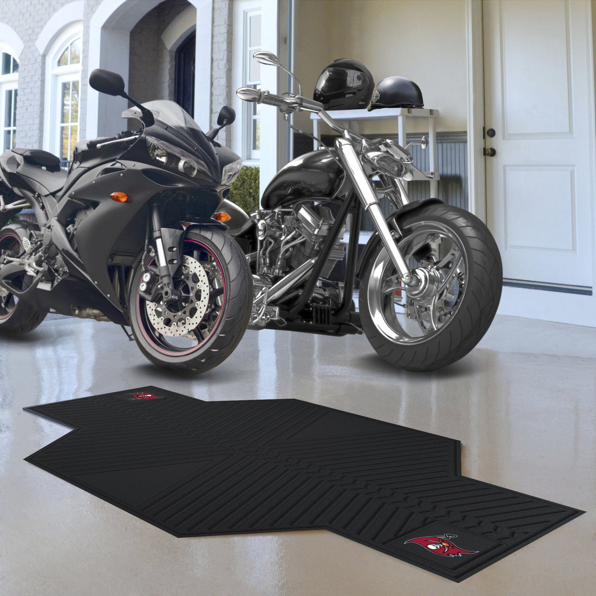 "NFL - Motorcycle Mat, 82.5"" x 42"" NFL Mats, Motorcycle Accessory, Motorcycle Mat, NFL, Auto Fan Mats Tampa Bay Buccaneers"