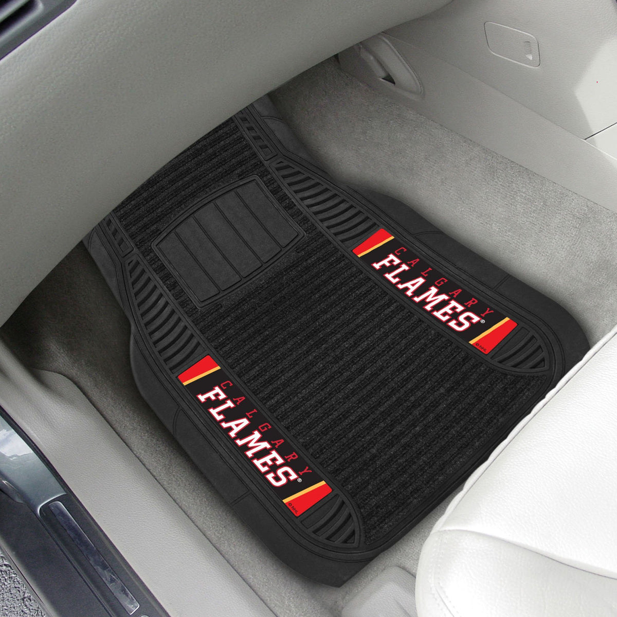 NHL - Deluxe Car Mat, 2-Piece Set NHL Mats, Front Car Mats, 2-pc Deluxe Car Mat Set, NHL, Auto Fan Mats Calgary Flames