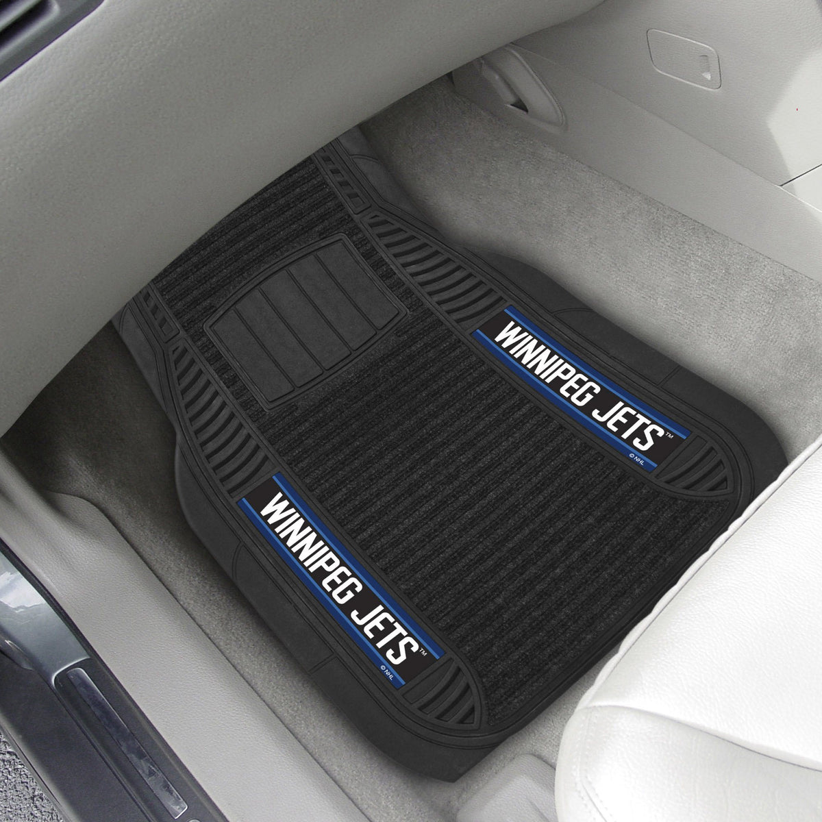 NHL - Deluxe Car Mat, 2-Piece Set NHL Mats, Front Car Mats, 2-pc Deluxe Car Mat Set, NHL, Auto Fan Mats Winnipeg Jets
