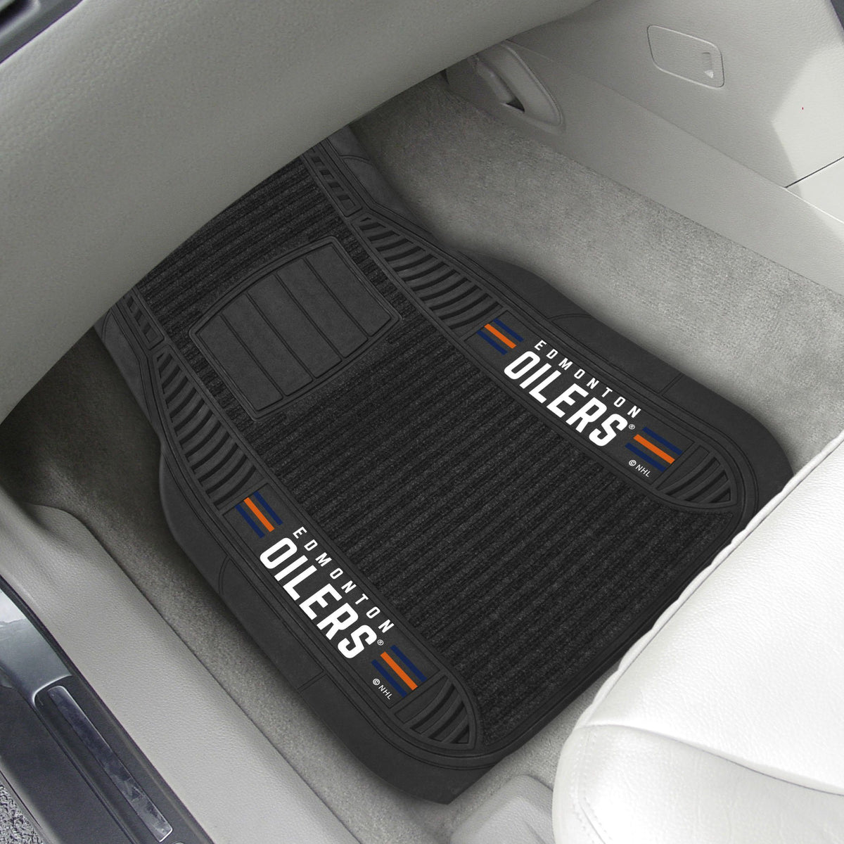 NHL - Deluxe Car Mat, 2-Piece Set NHL Mats, Front Car Mats, 2-pc Deluxe Car Mat Set, NHL, Auto Fan Mats Edmonton Oilers