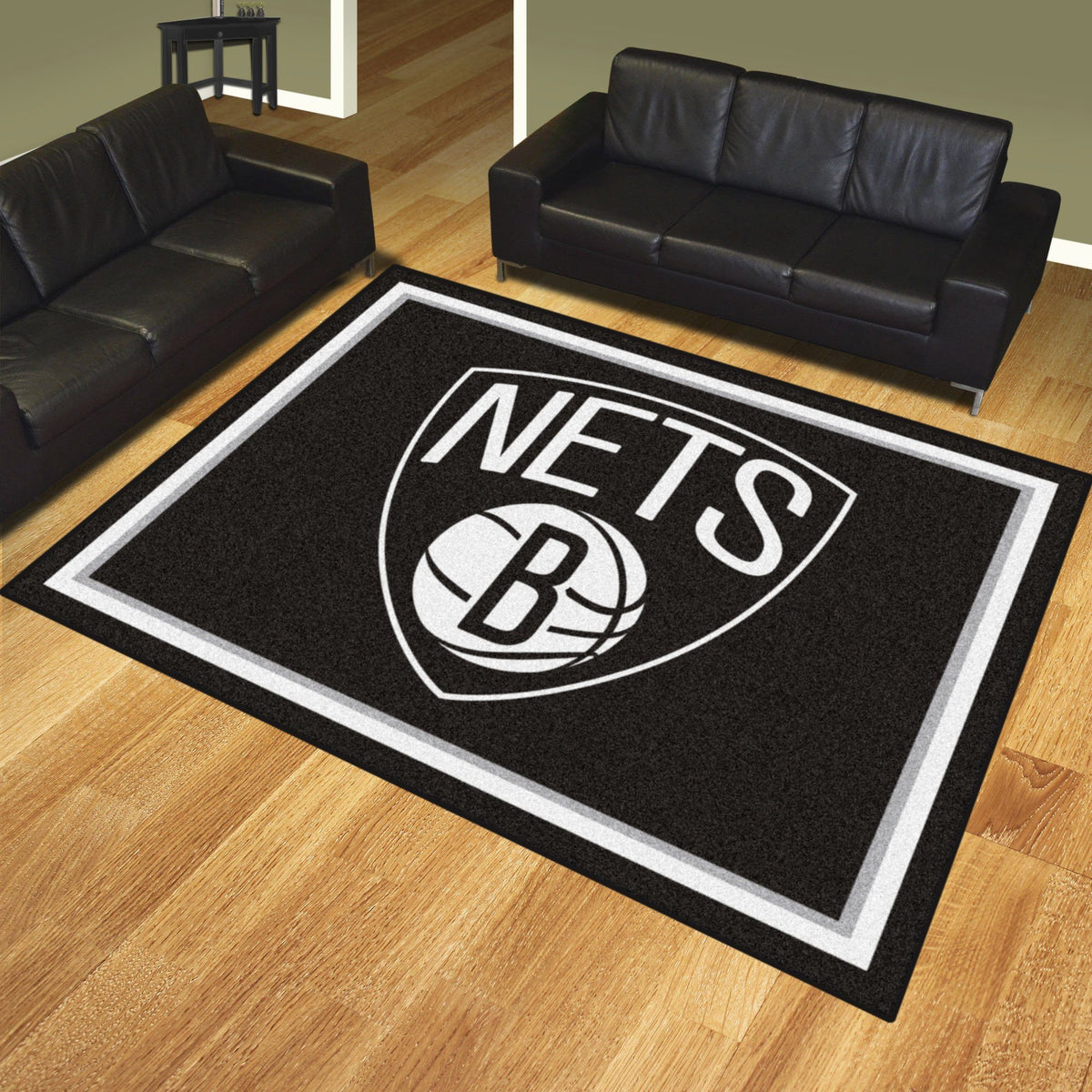 NBA - 8' x 10' Rug NBA Mats, Plush Rugs, 8x10 Rug, NBA, Home Fan Mats Brooklyn Nets