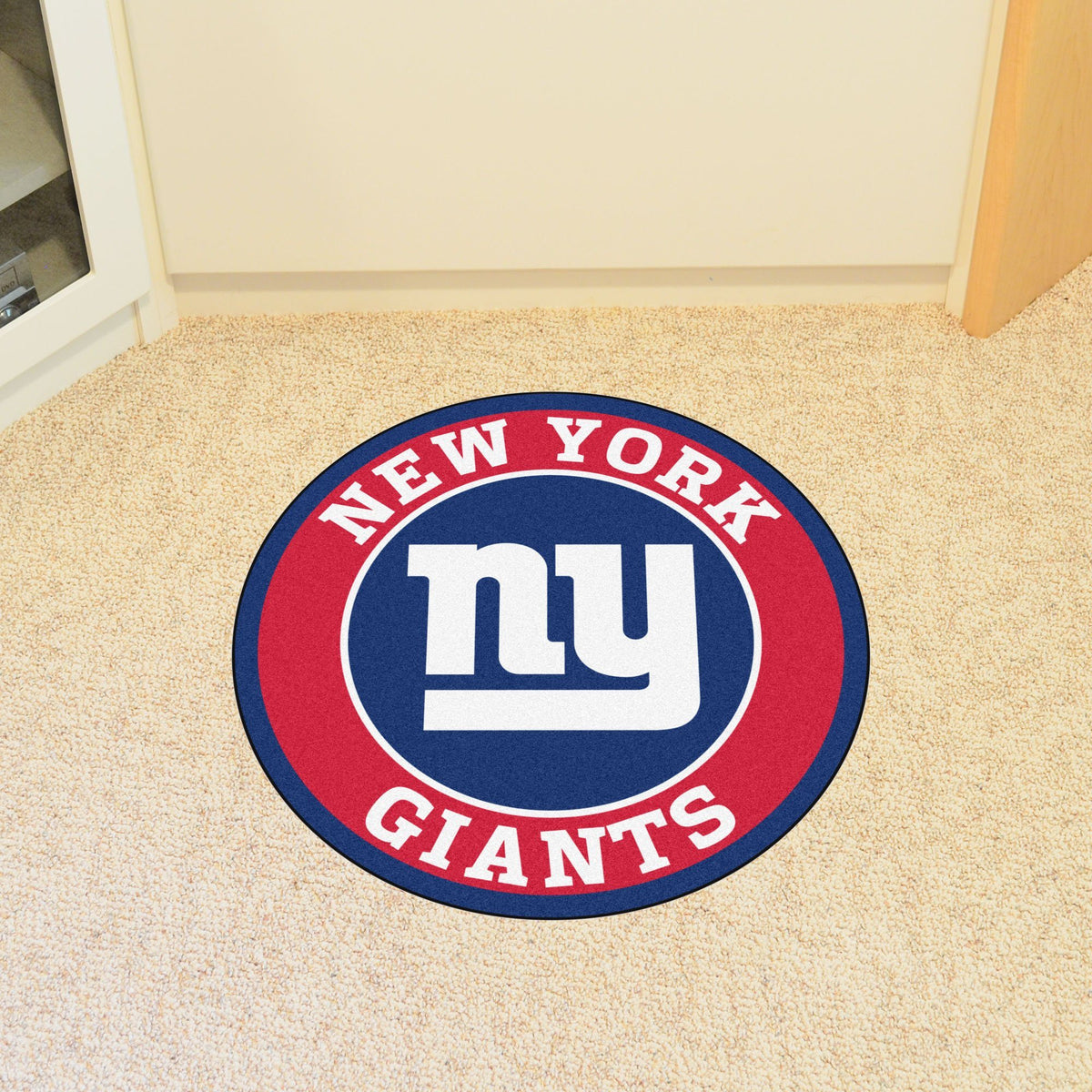 "NFL - Roundel Mat, 27"" diameter NFL Mats, Round Mats, Roundel Mat, NFL, Home Fan Mats New York Giants"