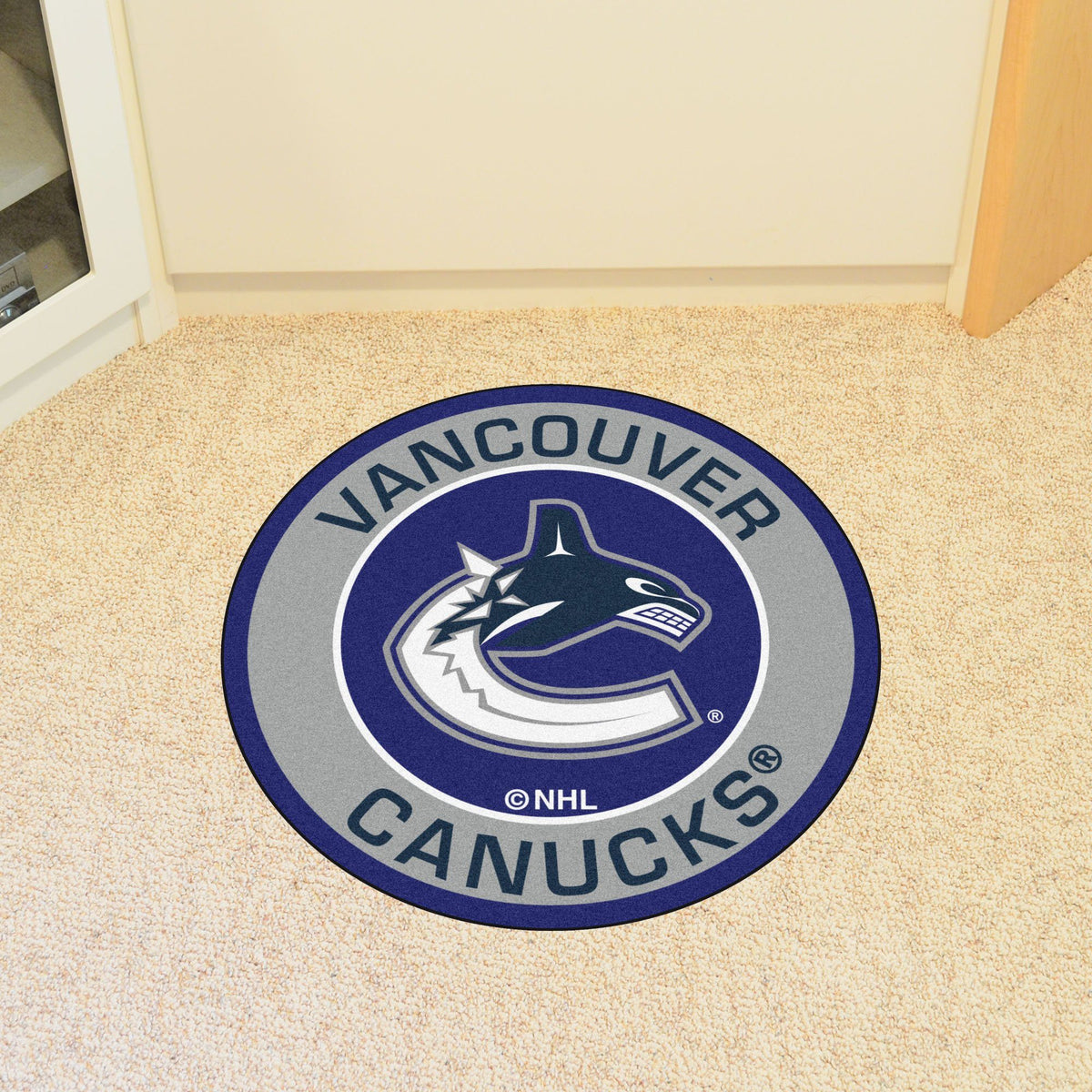 NHL - Roundel Mat NHL Mats, Round Mats, Roundel Mat, NHL, Home Fan Mats Vancouver Canucks