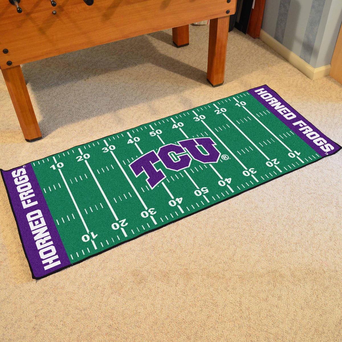 Collegiate - Football Field Runner Collegiate Mats, Rectangular Mats, Football Field Runner, Collegiate, Home Fan Mats TCU