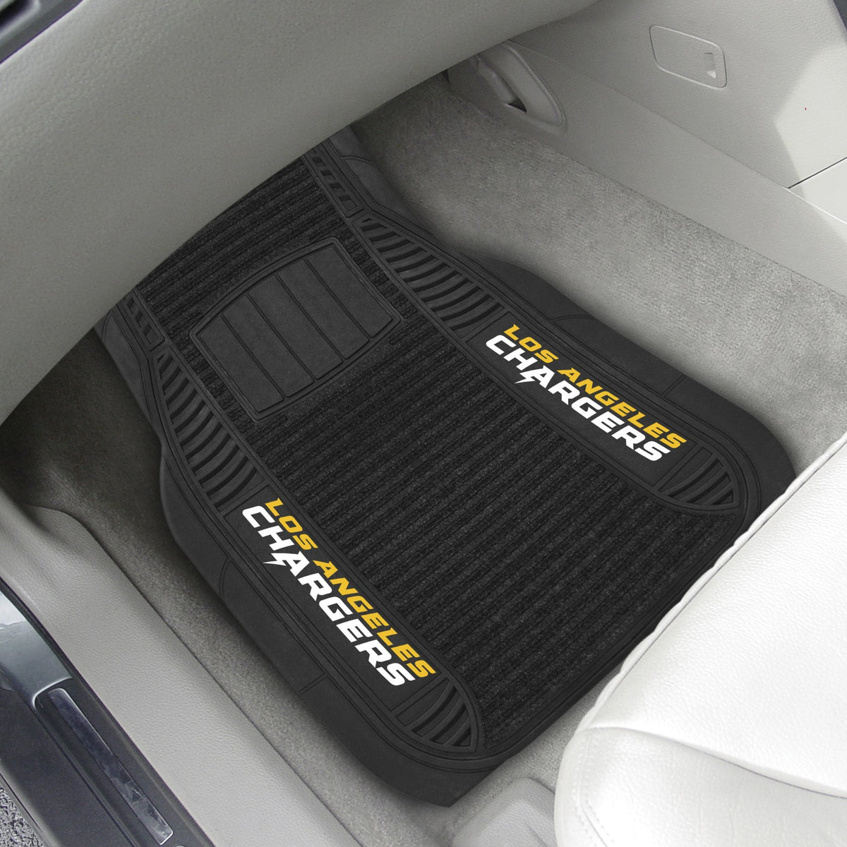 "NFL - 2-pc Deluxe Car Mat Set, 21"" x 27"" NFL Mats, Front Car Mats, 2-pc Deluxe Car Mat Set, NFL, Auto Fan Mats Los Angeles Chargers"