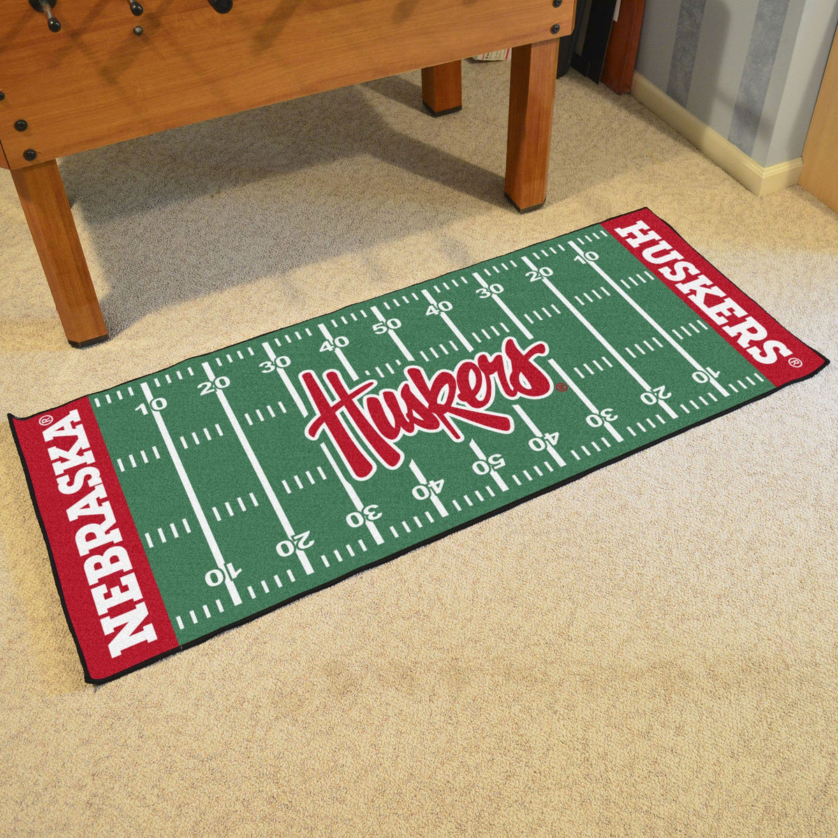 Collegiate - Football Field Runner Collegiate Mats, Rectangular Mats, Football Field Runner, Collegiate, Home Fan Mats Nebraska 3