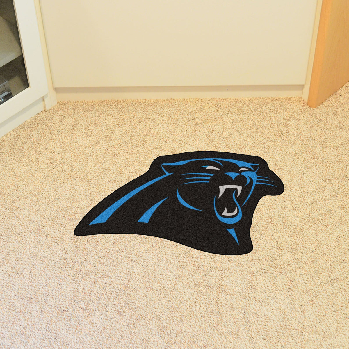 "NFL - Mascot Mat, 36"" x 34.8"" NFL Mats, Custom Shape Rugs, Mascot Mat, NFL, Home Fan Mats Carolina Panthers"
