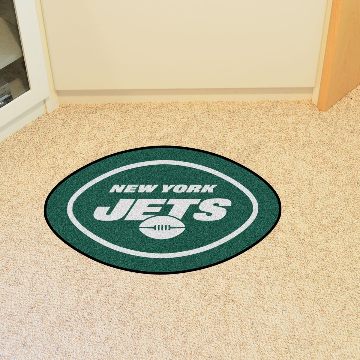 "NFL - Mascot Mat, 36"" x 34.8"" NFL Mats, Custom Shape Rugs, Mascot Mat, NFL, Home Fan Mats New York Jets"