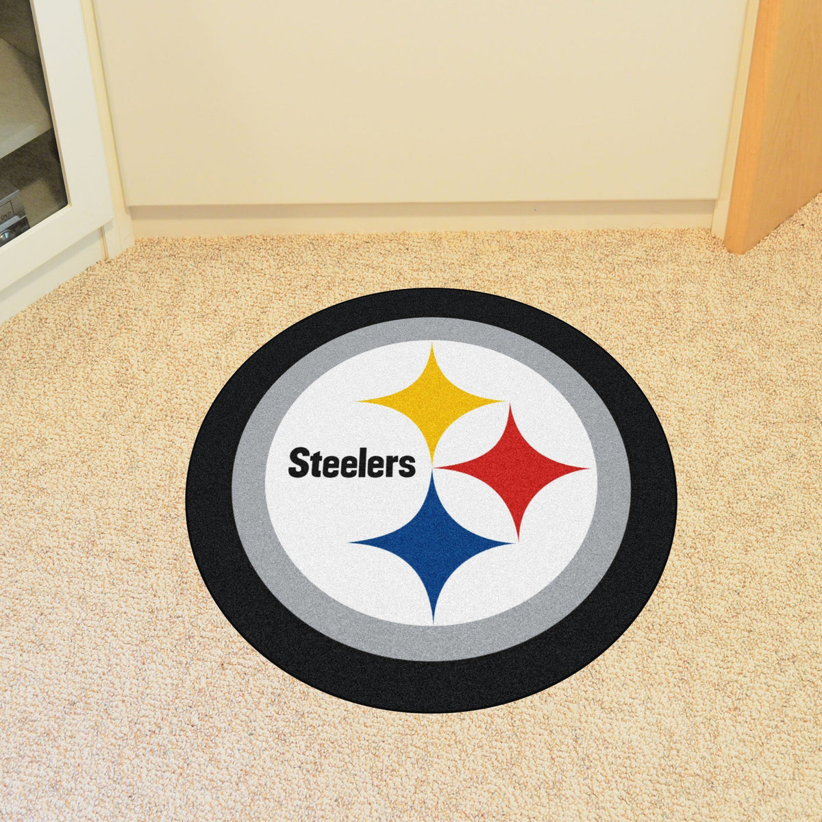 "NFL - Mascot Mat, 36"" x 34.8"" NFL Mats, Custom Shape Rugs, Mascot Mat, NFL, Home Fan Mats Pittsburgh Steelers"