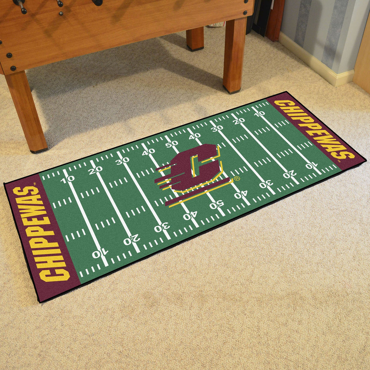 Collegiate - Football Field Runner Collegiate Mats, Rectangular Mats, Football Field Runner, Collegiate, Home Fan Mats Central Michigan