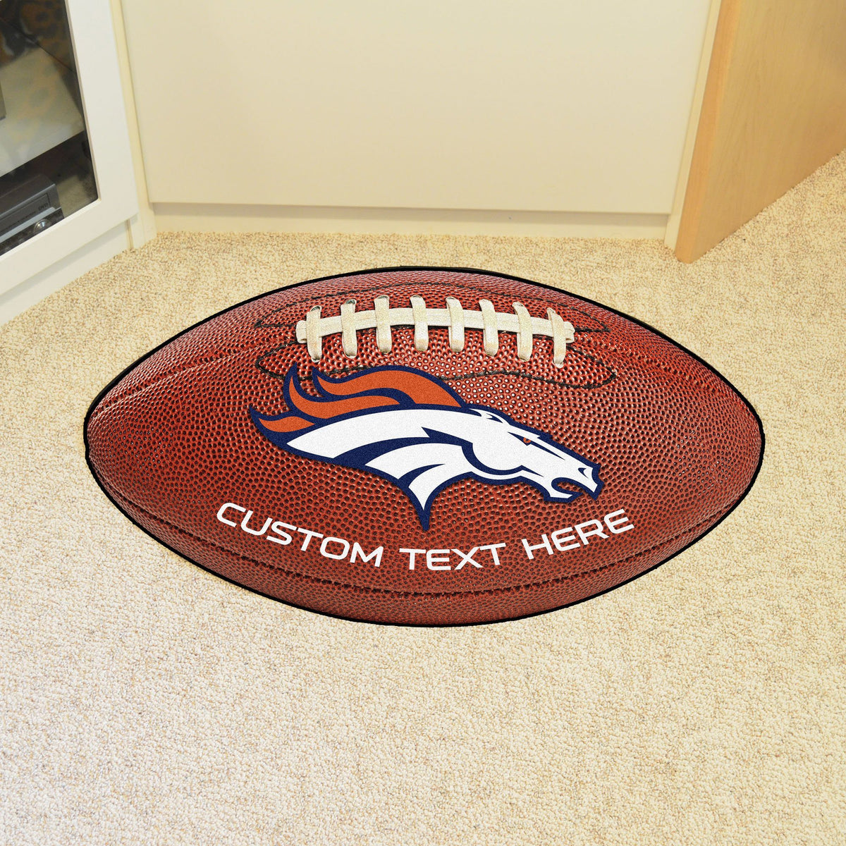 NFL Personalized Football Mat Personalized Football Mat Fan Mats Denver Broncos