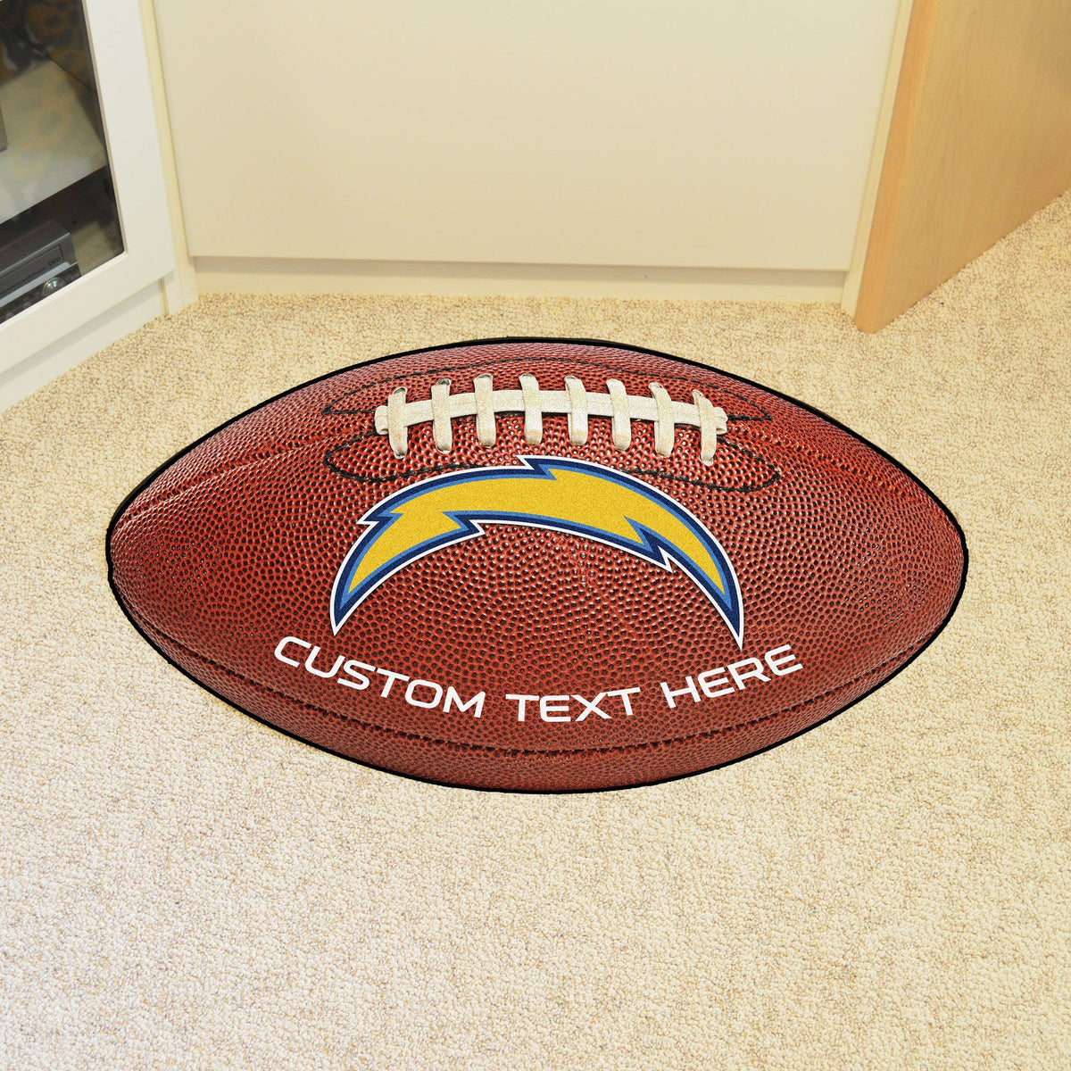 NFL Personalized Football Mat Personalized Football Mat Fan Mats Los Angeles Chargers
