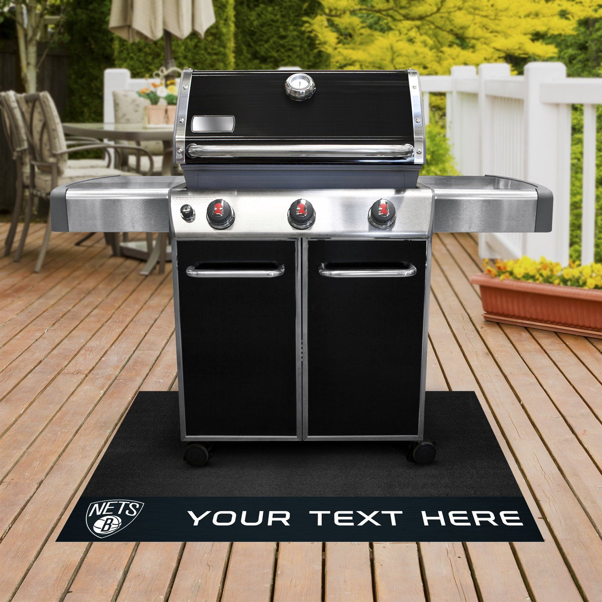 NBA Personalized Grill Mat Personalized Grill Mat Fan Mats Brooklyn Nets