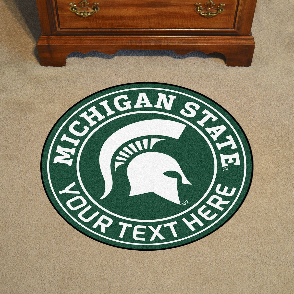 Collegiate Personalized Roundel Mat Personalized Roundel Mat Fan Mats Michigan State University