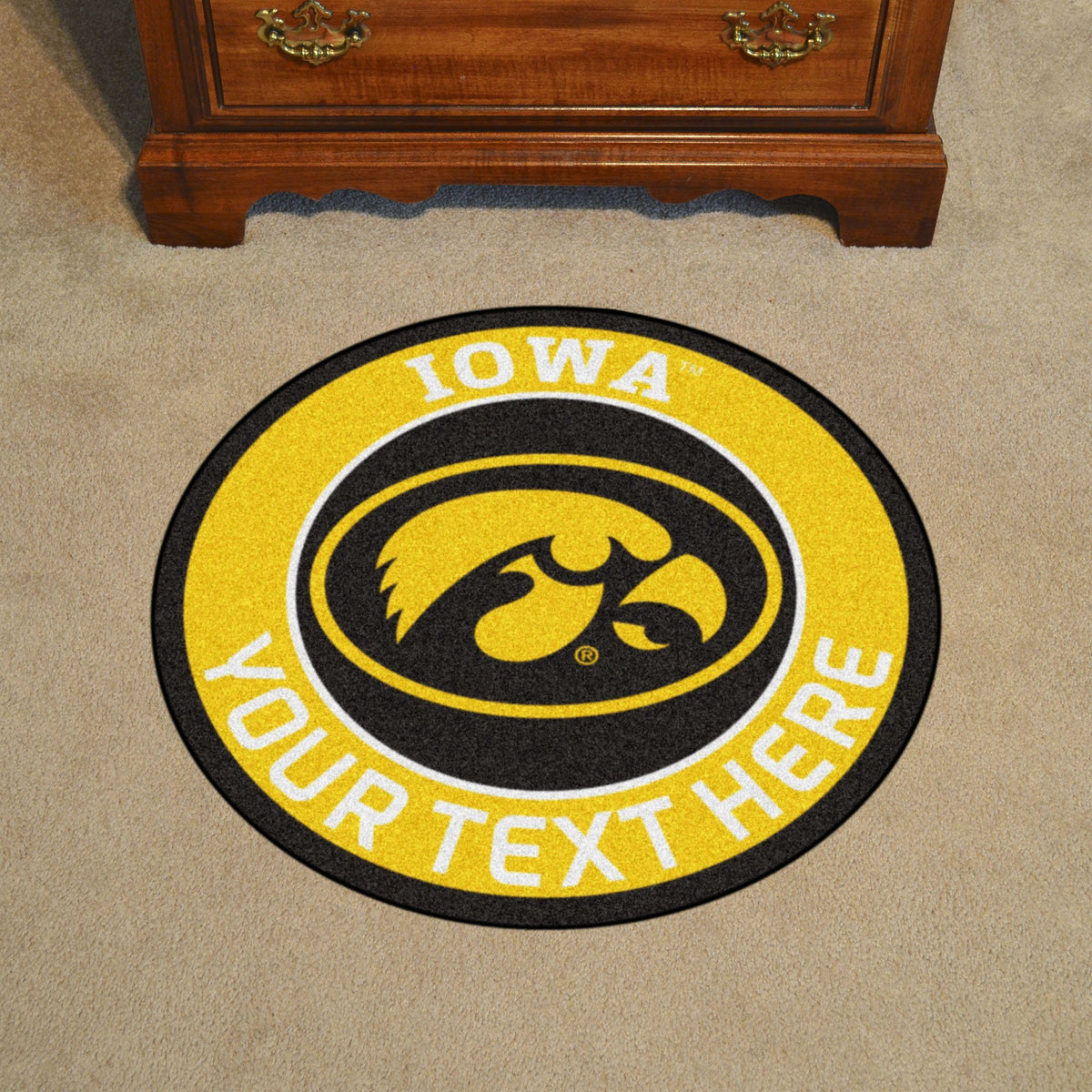 Collegiate Personalized Roundel Mat Personalized Roundel Mat Fan Mats University of Iowa