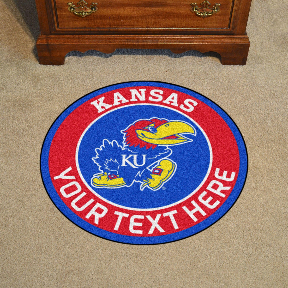 Collegiate Personalized Roundel Mat Personalized Roundel Mat Fan Mats University of Kansas