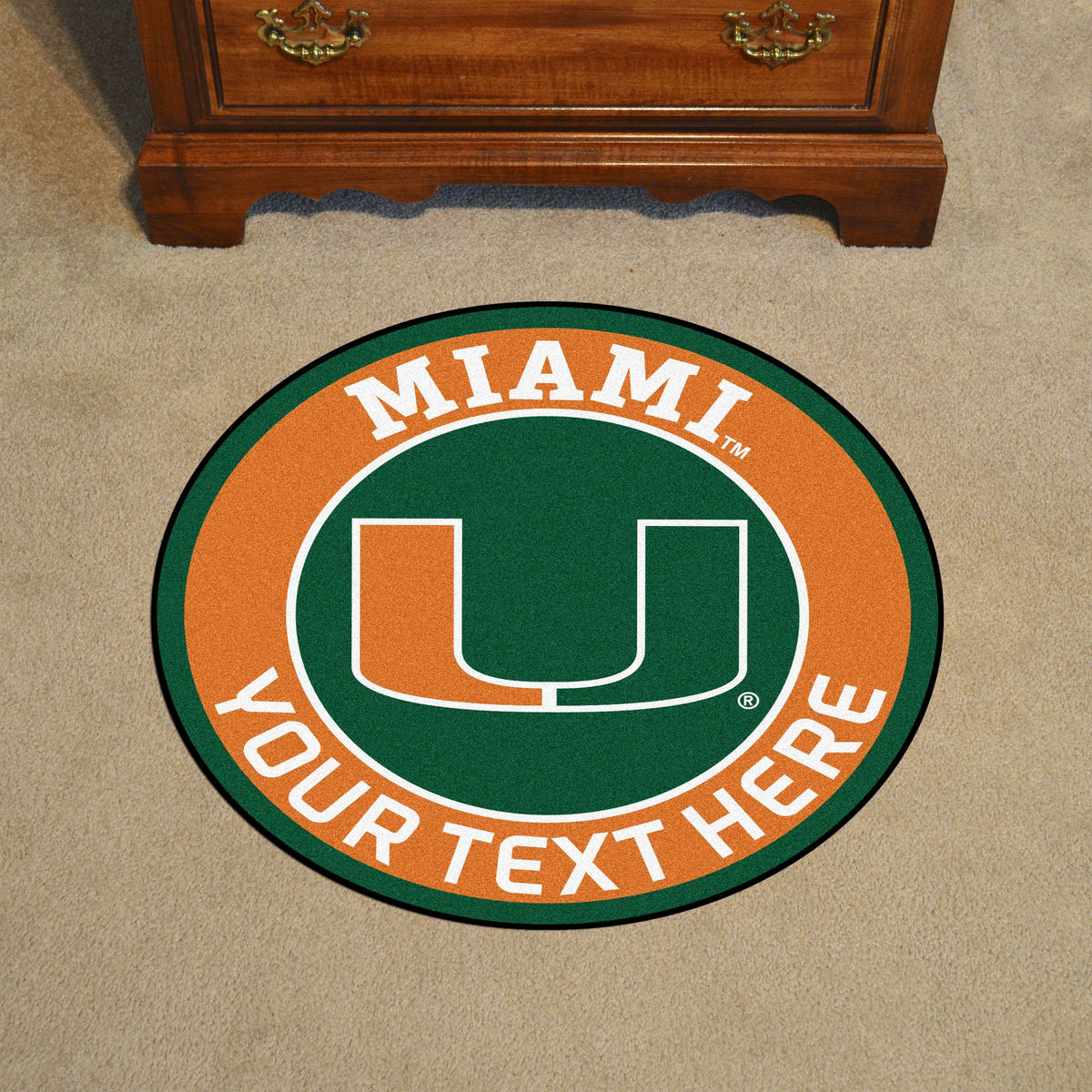 Collegiate Personalized Roundel Mat Personalized Roundel Mat Fan Mats University of Miami