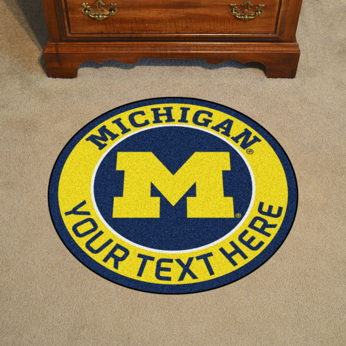 Collegiate Personalized Roundel Mat Personalized Roundel Mat Fan Mats University of Michigan