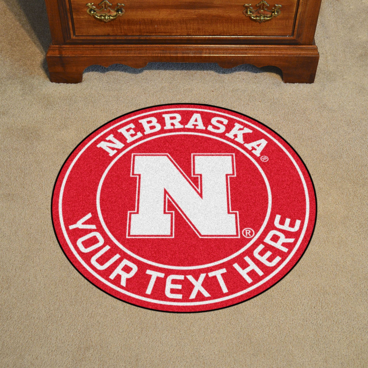 Collegiate Personalized Roundel Mat Personalized Roundel Mat Fan Mats University of Nebraska
