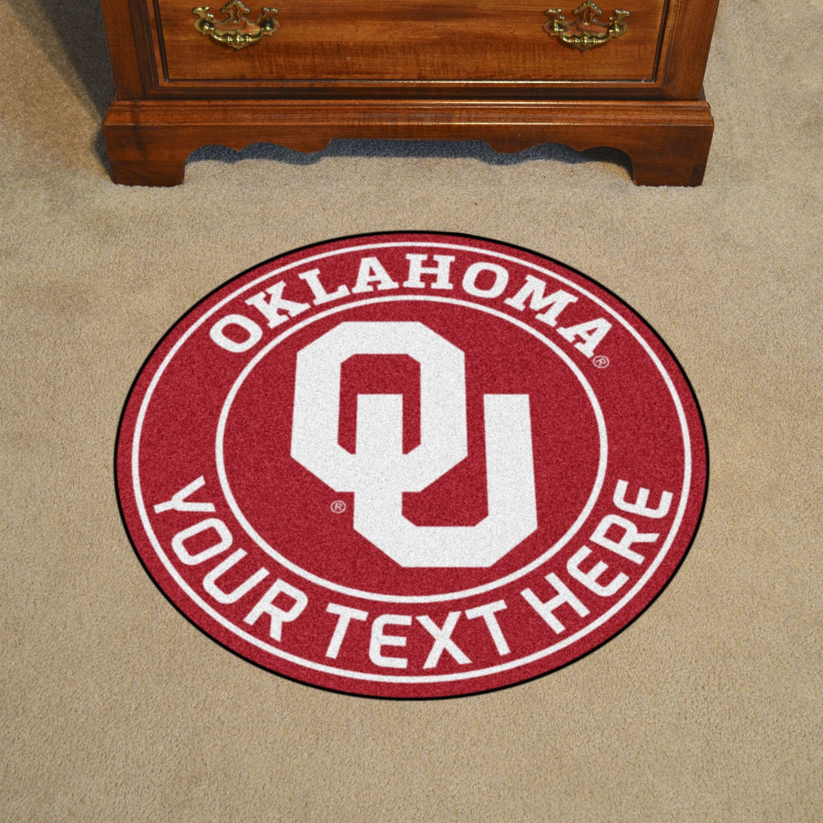 Collegiate Personalized Roundel Mat Personalized Roundel Mat Fan Mats University of Oklahoma