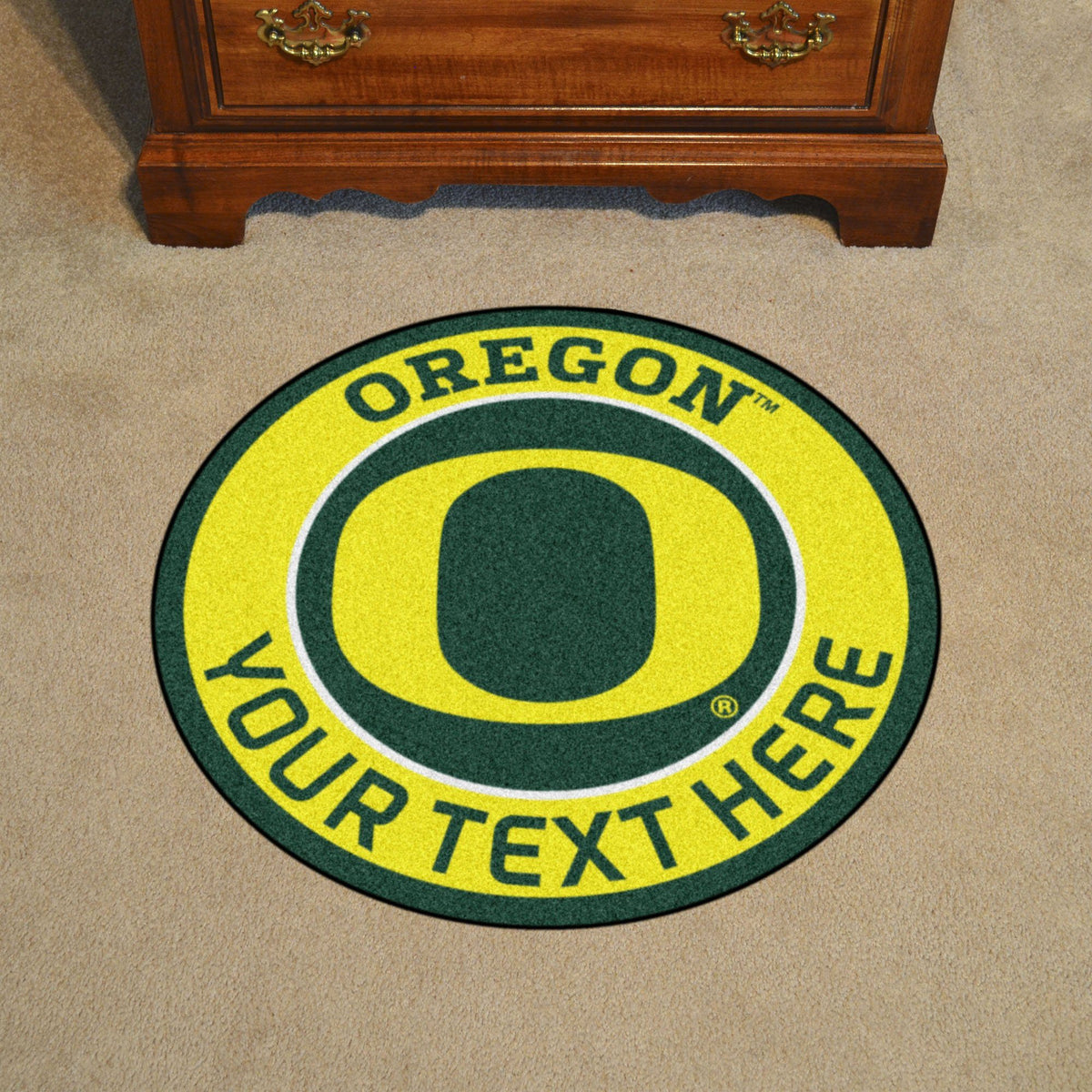 Collegiate Personalized Roundel Mat Personalized Roundel Mat Fan Mats University of Oregon