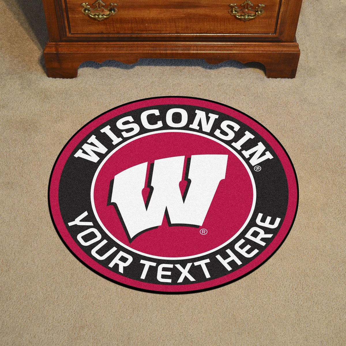 Collegiate Personalized Roundel Mat Personalized Roundel Mat Fan Mats University of Wisconsin