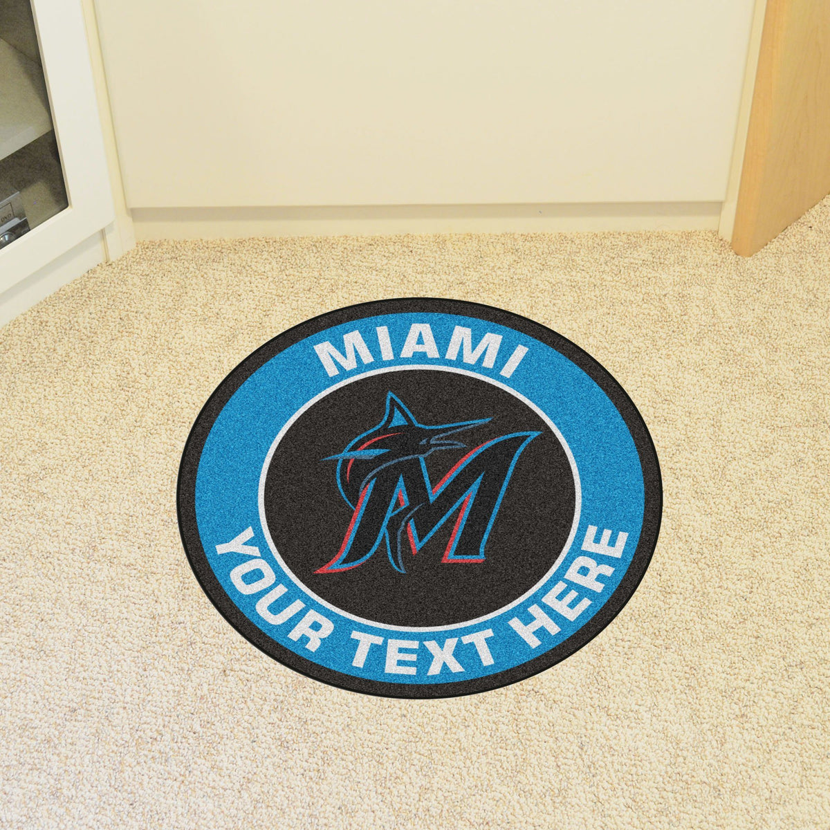 MLB Personalized Roundel Mat Personalized Roundel Mat Fan Mats Miami Marlins