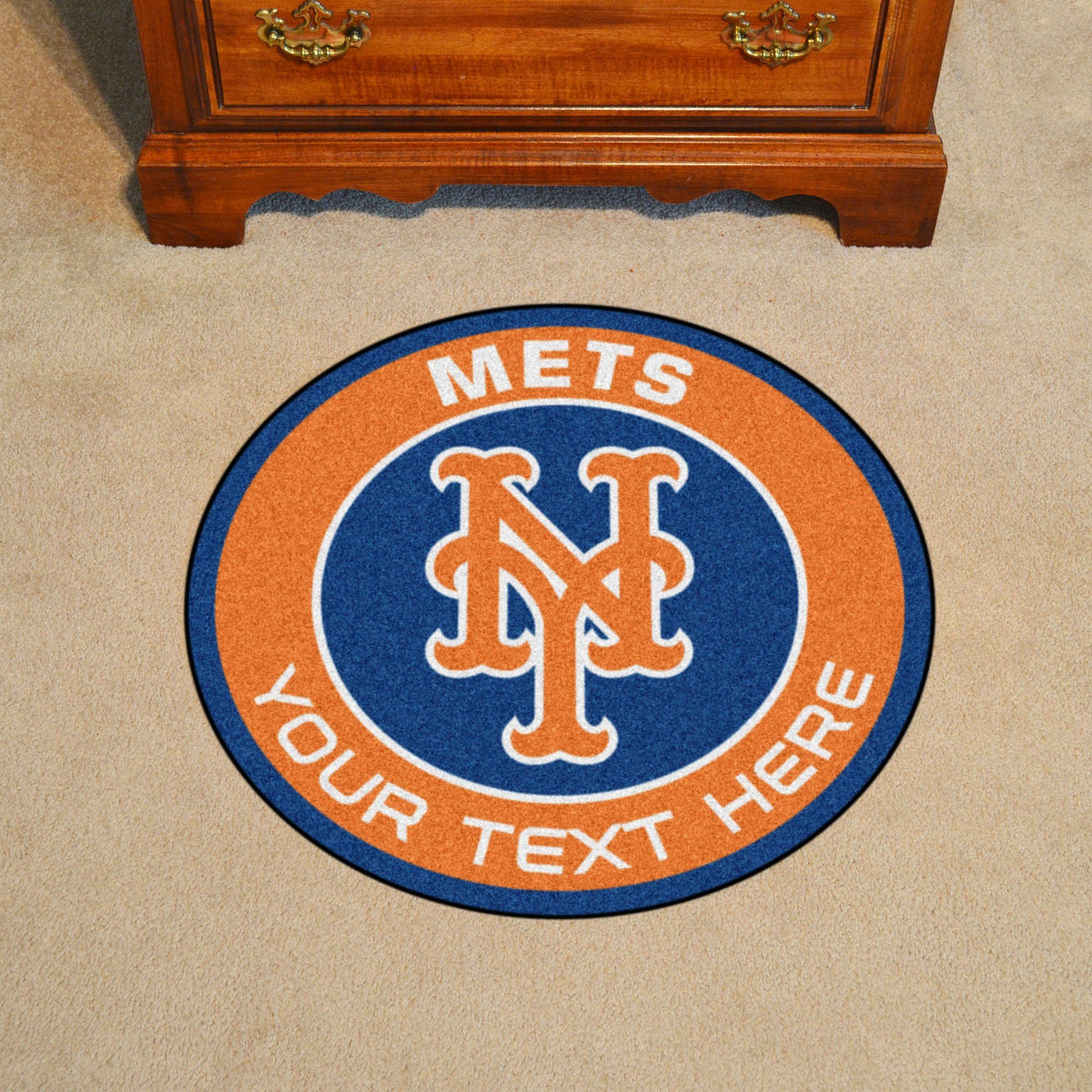MLB Personalized Roundel Mat Personalized Roundel Mat Fan Mats New York Mets