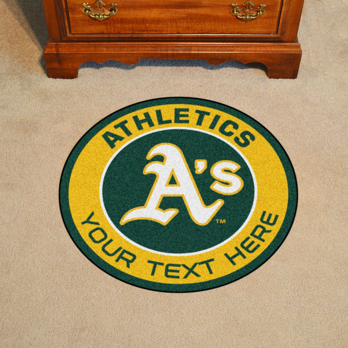 MLB Personalized Roundel Mat Personalized Roundel Mat Fan Mats Oakland Athletics