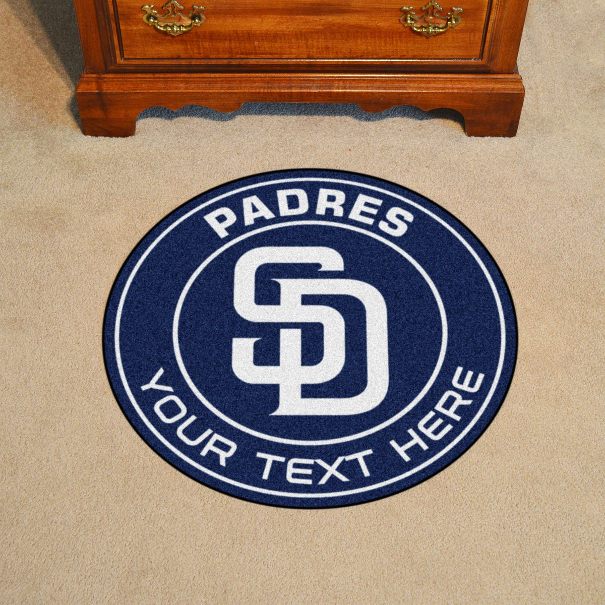 MLB Personalized Roundel Mat Personalized Roundel Mat Fan Mats San Diego Padres