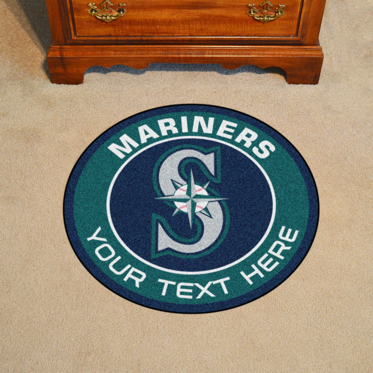 MLB Personalized Roundel Mat Personalized Roundel Mat Fan Mats Seattle Mariners
