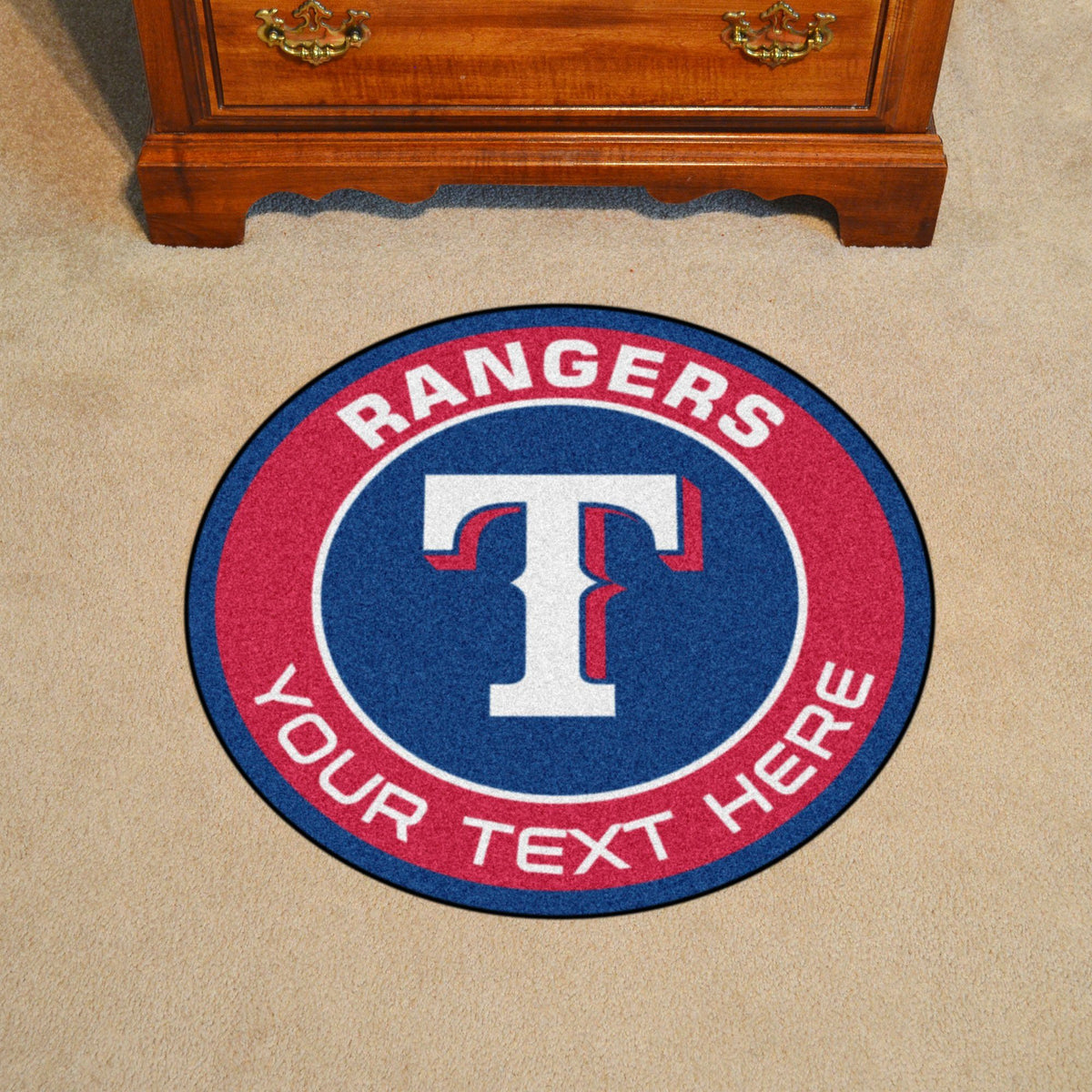 MLB Personalized Roundel Mat Personalized Roundel Mat Fan Mats Texas Rangers