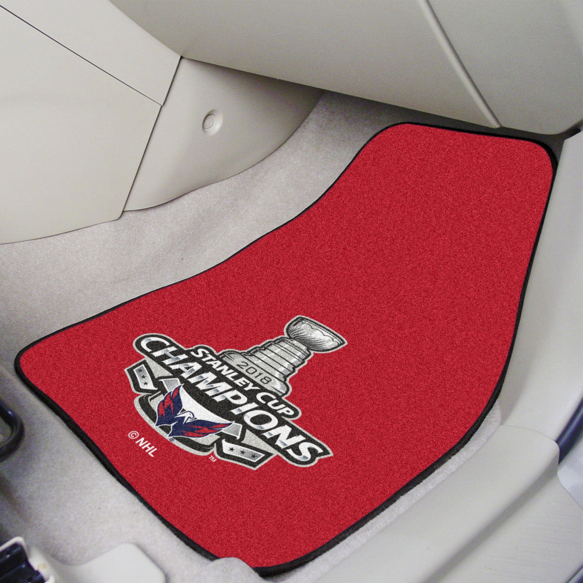 NHL - Carpet Car Mat, 2-Piece Set NHL Mats, Front Car Mats, 2-pc Carpet Car Mat Set, NHL, Auto Fan Mats Washington Capitals 2