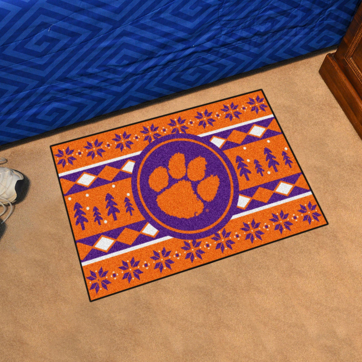 Collegiate - Holiday Sweater Starter Mat Collegiate Mats, Rectangular Mats, Holiday Sweater Starter Mat, Collegiate, Home Fan Mats Clemson