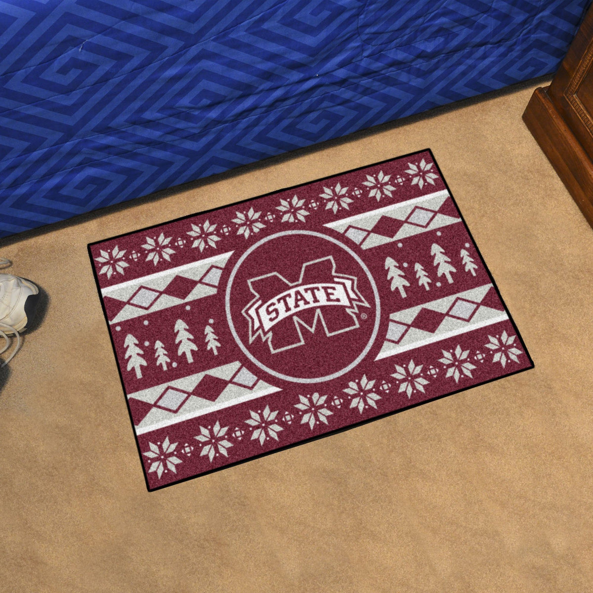 Collegiate - Holiday Sweater Starter Mat Collegiate Mats, Rectangular Mats, Holiday Sweater Starter Mat, Collegiate, Home Fan Mats Mississippi State