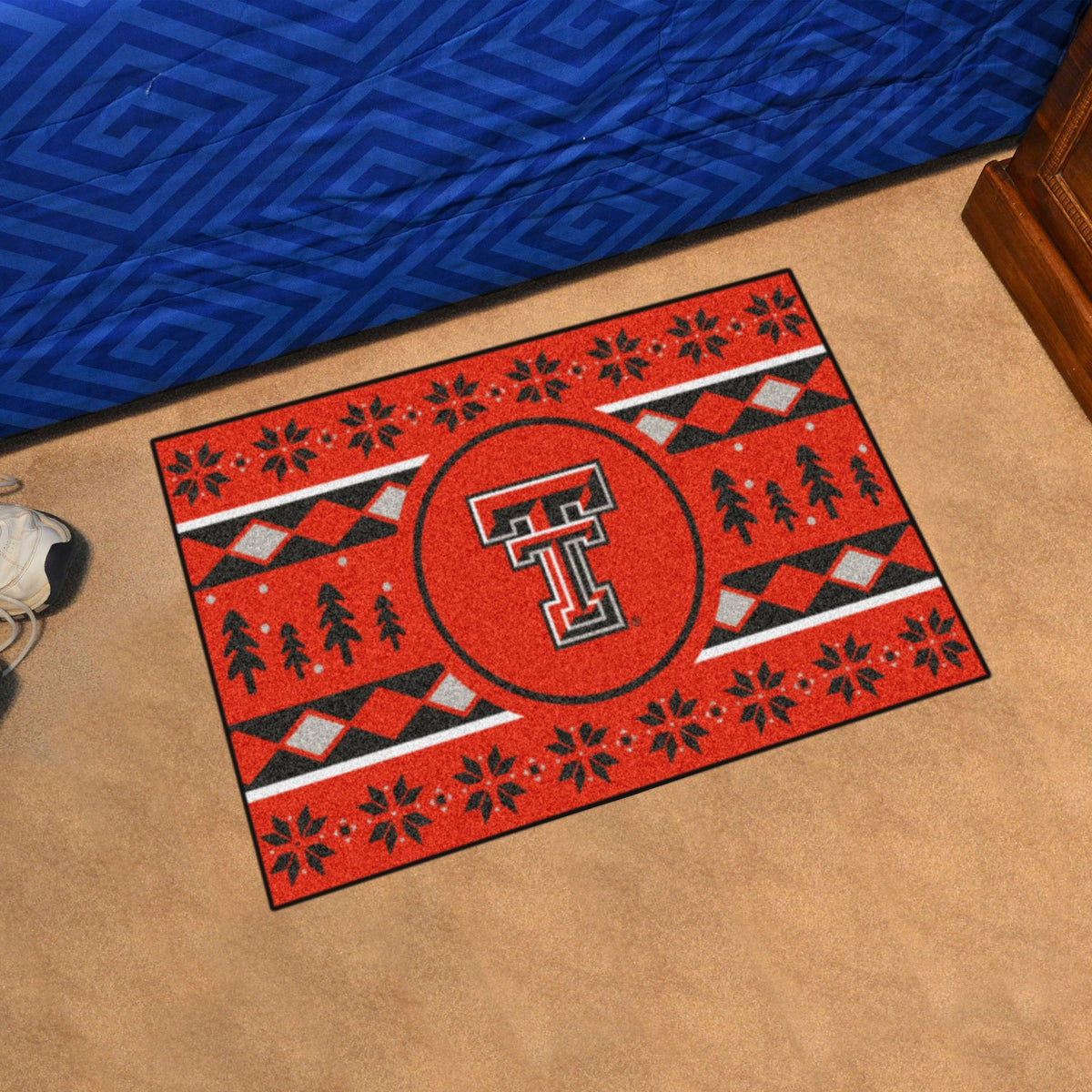 Collegiate - Holiday Sweater Starter Mat Collegiate Mats, Rectangular Mats, Holiday Sweater Starter Mat, Collegiate, Home Fan Mats Texas Tech